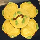 Mid Century Belmar Of California Yellow Pottery Pear Bowls Chip'n'Dip Set, USA