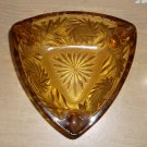 Vintage Hazel Atlas Pinwheels And Leaves Triangular Amber Glass Ashtray