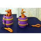 Wind-up Tigger Toy (in a barrel), plastic chain and latch to hook on a back pack