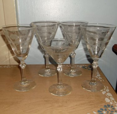 Cut glass Wine Goblets with Faceted Stems