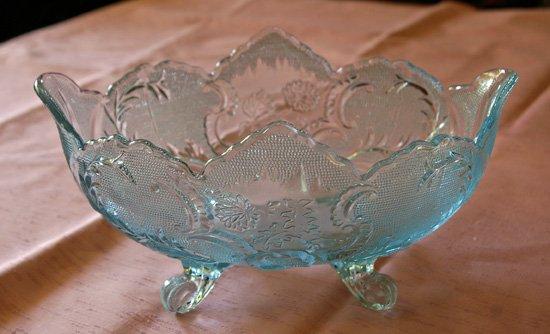 Ice Blue Pressed Glass Bowl