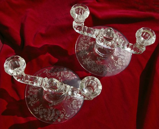New Martinsville Double Crystal Candle Holders