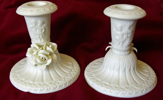 Jade Candle Holders with Angels