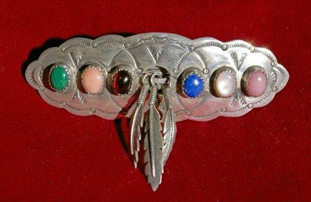 Sterling Silver Semi-Precious Stone Feather Barrette