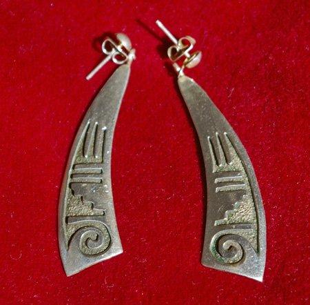 Handmade American Indian Sterling Silver Earrings