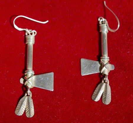 Sterling Silver Feather Hatchet Axe Earrings