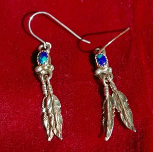 Azurite/Malachite Stone Sterling Silver Feather Earrings