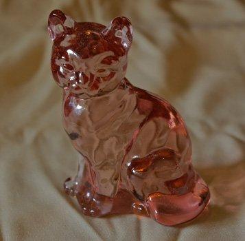 Pink Sitting Fenton Cat