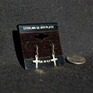 Sterling Silver Plate Cross Dangle Earrings #011