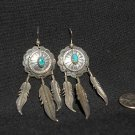 Navajo Sterling Silver & Turquoise Handmade Concho with Feather Dangle Earrings #018