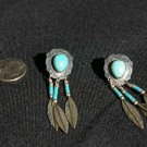 Sterling Silver with Turquoise Teardrop & Feather Earrings #019