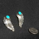Navajo Sterling Silver Feather with Turquoise Earrings #020