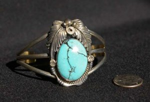 Navajo Handmade Sterling Silver with Turquoise and Feathers Cuff Bracelet #023