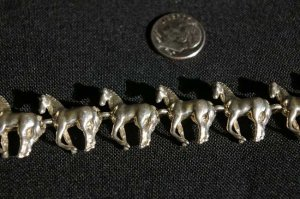 Sterling Silver Standing Horse Chain Link Bracelet #025