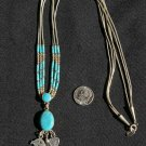 Liquid Sterling Silver with Turquoise and Bear,Feather,Engraved Heart Charm Necklace#028
