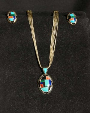 Zuni Pendant on Liquid Silver Necklace with Matching Earrings #031