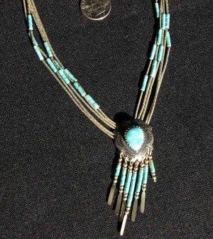 Liquid Silver and Turquoise Teardrop Dangle Pendant #033