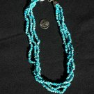 Three Strand Turquoise Small Nugget Necklace Choker #034