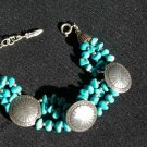 Turquoise Nugget Bracelet with Sterling Silver Conchos #035