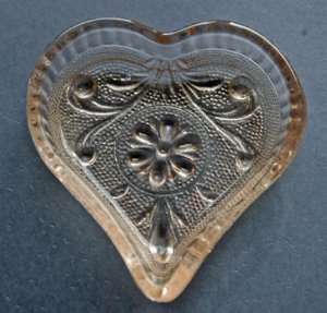 Pink Pressed Glass Heart Shaped Dish