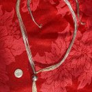 "30"" inch 8 Strand Liquid Silver Necklace with Silver Ball and Dangles #042"