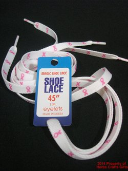 Pink Ribbons Shoelaces White New 7 Eyelet Shoes 45 inch #f