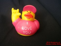 I Love You Rubber Duck Hand Pink Romantic 2 inch Sign Language New Valentine #f