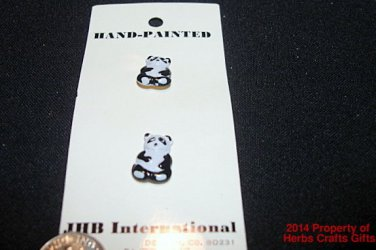 2 Panda Bear Buttons Black White New on Card 1/2 inch JBH Hand Painted Crafts #f