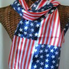 American Flag USA Scarf Larger Print New 13x60 Long Neck Stars Stripes #f