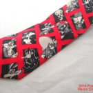 Neck Tie Looney Tunes Mania Red Black White 100% Silk 1993 Made in Korea #f