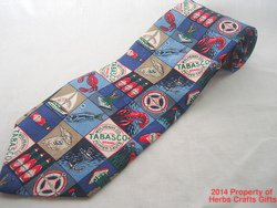 Tabasco Seafood Neck Tie Embossed Logo Lobster Oyster 100% Silk Made in USA #f
