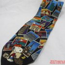 Snoopy World Travelin' Beagle Neck Tie Cities Landmarks Peanuts 100% Silk #f