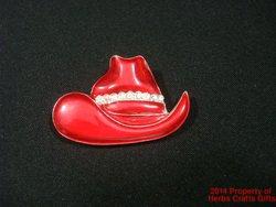 Red Cowboy Hat Pin Society Brooch Rhinestones Silvertone Our211.f