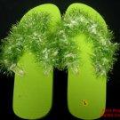 Flip Flops Neon Green White Shoes Large Slippers Metallic Yarn New .f