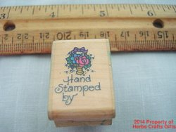 Hand Stamped By Rubber Stamp with Flowers Basket Tiny Stampendous #AA052 '94 .f