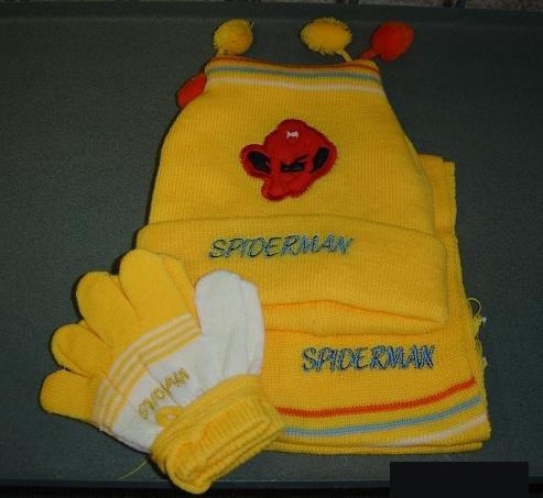 Spiderman beanie, scarf, glove set