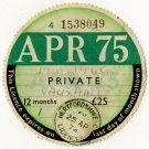 (I.B) GB Revenue : Car Tax Disc (Vauxhall 1975)