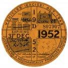 (I.B) GB Revenue : Car Tax Disc (Rudge Motorcycle 1952)