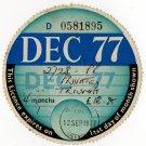 (I.B) GB Revenue : Car Tax Disc (Triumph 1977)