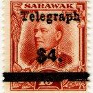 (I.B) Sarawak Telegraphs : Overprint $4 on 15c