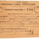 (I.B) Cheshire Lines Committee Railway : Foreign Voucher (1899)