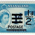 (I.B) Nyasaland Revenue : Duty ½d on 1d (postal overprint)