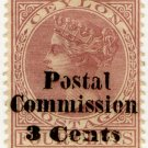 (I.B) Ceylon Revenue : Postal Commission 3c on 4c Purple