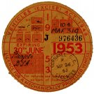 (I.B) GB Revenue : Car Tax Disc (BSA Motorcycle 1953)