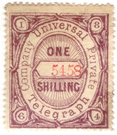 (I.B) Universal Telegraph Company : 1/- Lilac & Red