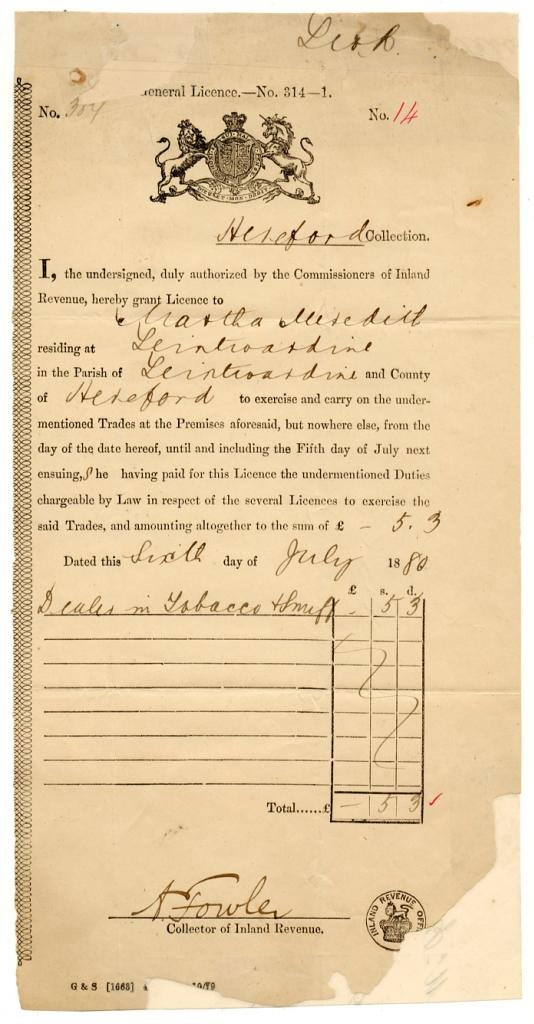 (I.B) QV Revenue : Tobacco & Snuff Seller's Licence 5/3d (Leintwardine 1880)