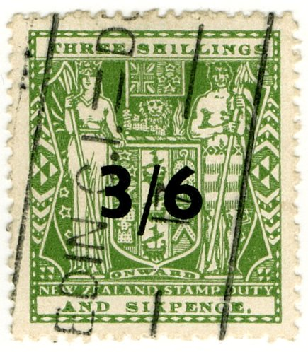 (I.B) New Zealand Revenue : Stamp Duty 3/6d