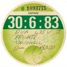 (I.B) GB Revenue : Car Tax Disc (Vauxhall 1983)
