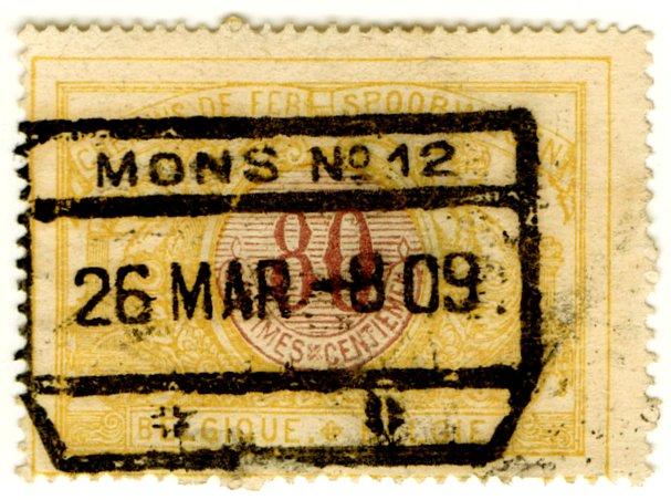 (I.B) Belgium Railways : Parcels 80c (Mons 1909)