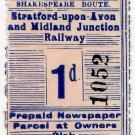 (I.B) Stratford-upon-Avon & Midland Junction Railway : Newspapers 1d